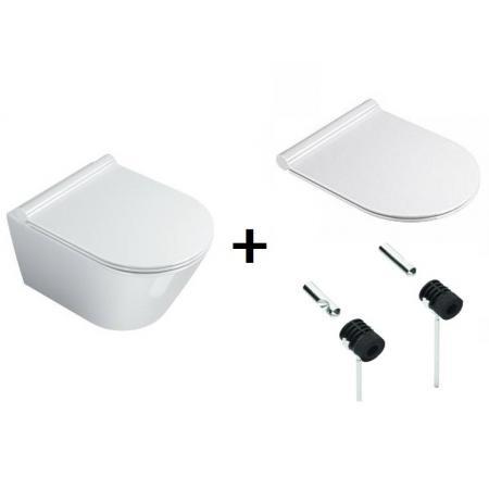 Catalano New Zero Zestaw Toaleta WC podwieszana 45x35 cm Newflush bez kołnierza z deską sedesową wolnoopadającą i mocowaniem, biały 1VSZ46R00+5V45STP00+5KFST00