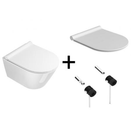 Catalano New Zero Zestaw Toaleta WC podwieszana 50x35 cm Newflush bez kołnierza z deską wolnoopadającą i mocowaniami biały 1VSZ50R00+5SCSTP000+5KFST00