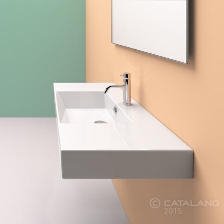 Catalano Premium Umywalka 120x47 cm bez otworu, z przelewem i z powłoką CataGlaze, biała 112VPUP00