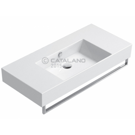Catalano Premium Umywalka wisząca 100x47 cm bez otworu, z przelewem i z powłoką CataGlaze, biała 110VPUP00