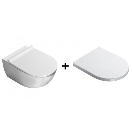 Catalano Sfera Zestaw Toaleta WC podwieszana 50x35 cm z powłoką CataGlaze z deską sedesową wolnoopadającą, biały 1VSS5000+5SCSTF00