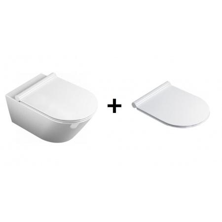 Catalano Sfera Zestaw Miska WC wisząca 50x35 cm i deska wolnoopadająca Slim, biała 1VSS5000+5SCSTP000