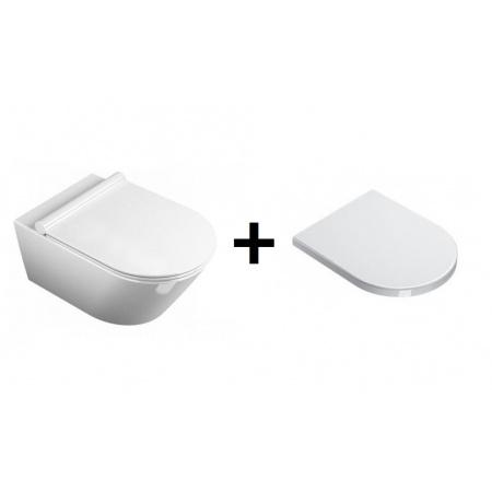 Catalano Sfera Zestaw Miska WC wisząca 54x35 cm i deska wolnoopadająca, biała 1VSF5400+5SCSTF00