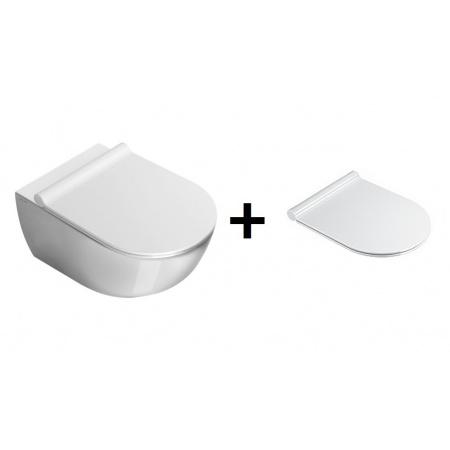 Catalano Sfera Zestaw Miska WC wisząca 54x35 cm i deska wolnoopadająca Slim, biała 1VSF5400+5SCSTP00