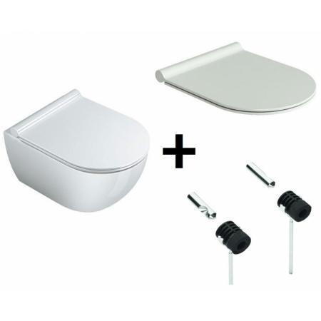 Catalano Sfera Zestaw Toaleta WC podwieszana 35x54 cm z powłoką CataGlaze z deską sedesową wolnoopadającą Slim i mocowaniami, biała 1VSF54A00+5SCSTP000+5KFST00