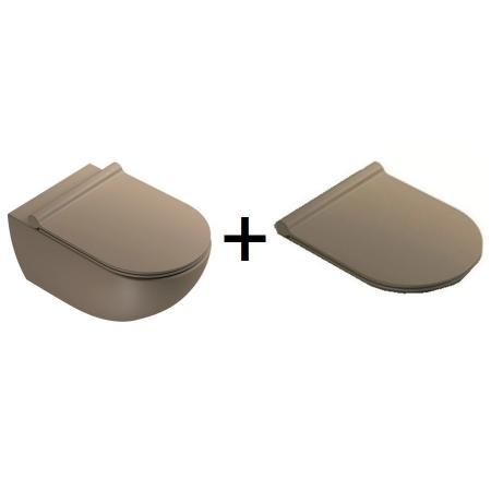 Catalano Sfera Zestaw Toaleta WC 54x35 cm Newflush bez kołnierza z deską wolnoopadającą satin brown 1VSF54RMS+5SCSTPMS
