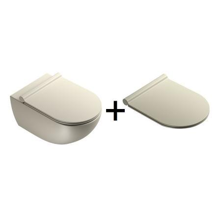 Catalano Sfera Zestaw Toaleta WC 54x35 cm Newflush bez kołnierza z deską wolnoopadającą satin grey 1VSF54RGS+5SCSTPGS