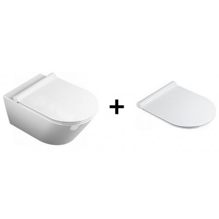 Catalano Sfera Zestaw Toaleta WC podwieszana 54x35 cm Newflush z deską sedesową wolnoopadającą Slim, biały 1VSF54R00+5SCSTP000