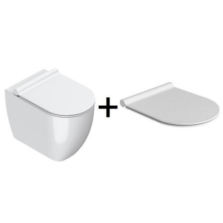 Catalano Sfera Zestaw Toaleta WC stojąca 54x35 cm Newflush bez kołnierza z deską wolnoopadającą biały 1VPS54R00+5SCSTF000