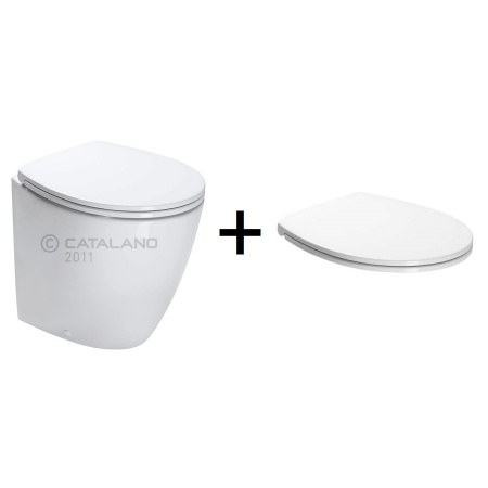 Catalano Velis Zestaw Toaleta WC stojąca 50x37 cm z powłoką CataGlaze z deską sedesową wolnoopadającą, biała 1VP5000+5NLV5STF00