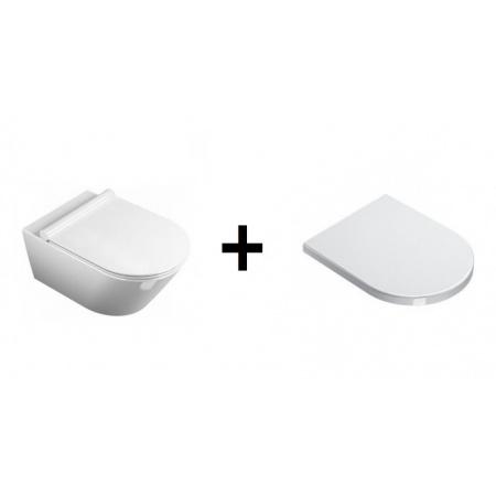 Catalano Zero NewFlush Zestaw Toaleta WC podwieszana 55x35 cm z deską sedesową wolnoopadającą, biały 1VS55NR00+5SCSTF00