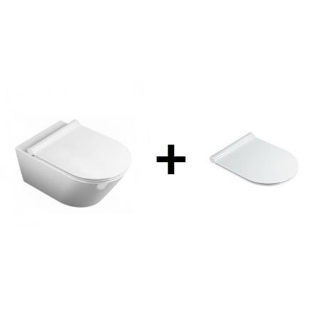 Catalano Impronta Zestaw Toaleta WC podwieszana 33x55 cm Newflush bez kołnierzaz powłoką CataGlaze z deską sedesową wolnoopadającą Slim, biała 1VS55NR00+5SCSTP000