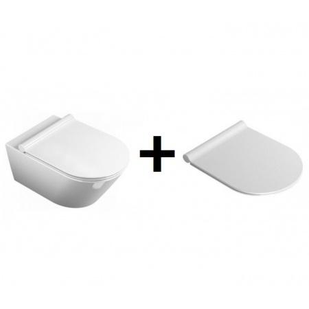 Catalano Zero Zestaw Muszla klozetowa miska WC podwieszana 55x35 cm z deską wolnoopadającą Slim, biała 1VS55N00+5SCSTP000