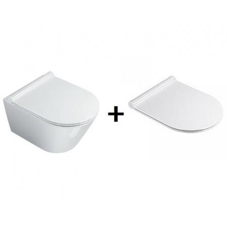 Catalano New Zero Zestaw Toaleta WC podwieszana 45x35 cm Newflush bez kołnierzaz deską sedesową wolnoopadającą, biała 1VSZ46R00+5V45STP00