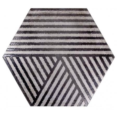 Ceramstic Hexon Anthracite Strips Płytka ścienna/podłogowa 60x52 cm gres szkliwiony, błyszcząca DG.234A