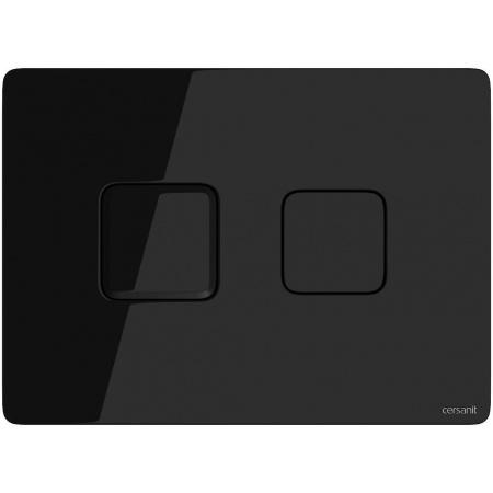 Cersanit Accento Square Przycisk spłukujący pneumatyczny do WC, szkło czarne S97-058