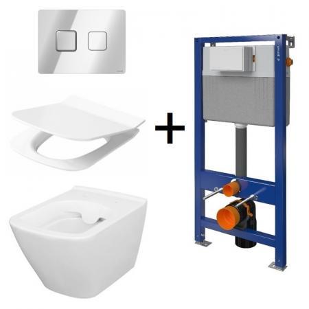 Cersanit Aqua/City Square SET B212 Toaleta WC podwieszana CleanOn z deską wolnoopadającą, stelażem i przyciskiem Accento biały/chrom S701-399