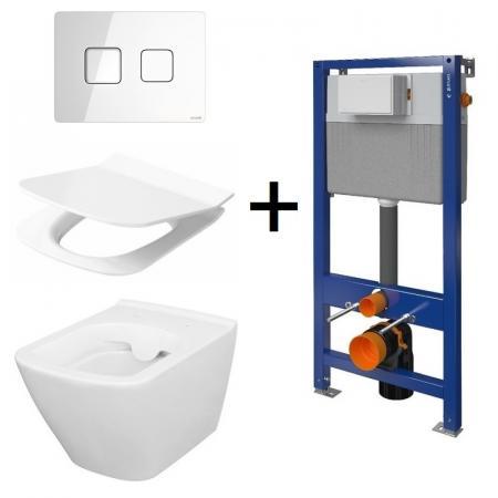 Cersanit Aqua/City Square SET B213 Toaleta WC podwieszana CleanOn z deską wolnoopadającą, stelażem i przyciskiem Accento biały S701-400