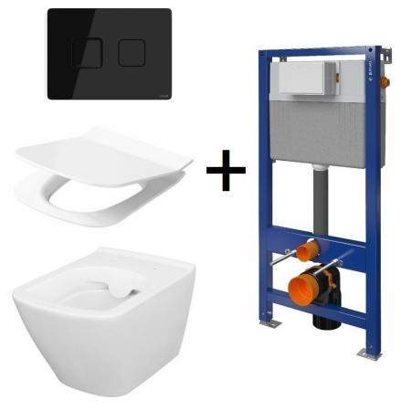 Cersanit Aqua/City Square SET B214 Toaleta WC podwieszana CleanOn z deską wolnoopadającą, stelażem i przyciskiem Accento biały/czarny S701-401