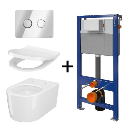 Cersanit Aqua Inverto SET B230 Toaleta WC podwieszana 52x35,5 cm StreamOn z deską wolnoopadającą Slim, stelażem i przyciskiem spłukującym chrom S701-425