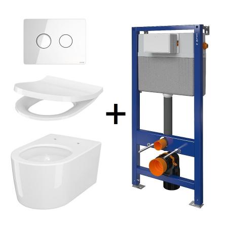 Cersanit Aqua Inverto SET B229 Toaleta WC podwieszana 52x35,5 cm StreamOn z deską wolnoopadającą Slim, stelażem i przyciskiem spłukującym szkło białe S701-423