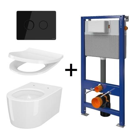 Cersanit Aqua Inverto SET B231 Toaleta WC podwieszana 52x35,5 cm StreamOn z deską wolnoopadającą Slim, stelażem i przyciskiem spłukującym szkło czarne S701-424