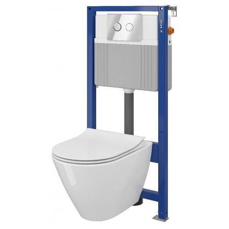 Cersanit Set B31 Aqua Zestaw Toaleta WC podwieszana 54x36,5 cm CleanOn bez kołnierza z ukrytym mocowaniem z deską sedesową wolnoopadającą i stelażem pneumatycznym Aqua 52, biały S701-324