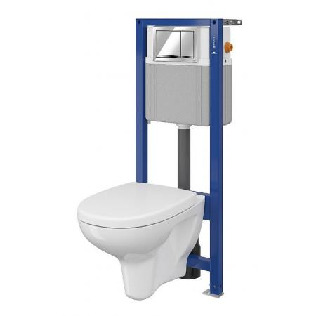 Cersanit Set 883 Aqua Zestaw Toaleta WC podwieszana 52x35,5 cm CleanOn z deską sedesową wolnoopadającą i stelażem mechanicznym Aqua 22, biały S701-206