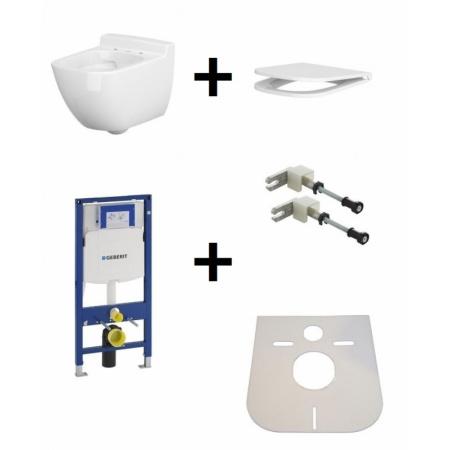 Cersanit Caspia Zestaw Toaleta WC podwieszana 54x36,5 cm CleanOn bez kołnierza wewnętrznego z deską sedesową wolnoopadającą i stelażem Geberit Duofix 3w1, biały K100-383+K98-0145+111.320.00.5+111.815.00.1