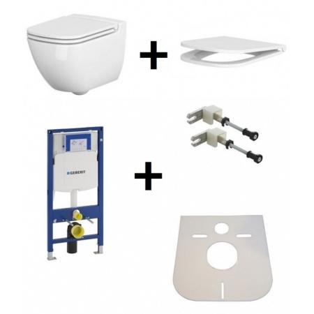 Cersanit Caspia Zestaw Toaleta WC podwieszana 54x36,5 cm CleanOn bez kołnierza z ukrytym mocowaniem z deską sedesową wolnoopadającą i stelażem Geberit Duofix 3w1 i matą, biały K11-0233+K98-0145+111.320.00.5+111.815.00.1