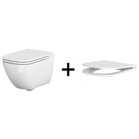 Cersanit Caspia Zestaw Toaleta WC podwieszana 54x36,5 cm CleanOn bez kołnierza z ukrytym mocowaniem z deską sedesową wolnoopadającą Slim, biała K11-0233+K98-0145