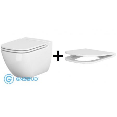 Cersanit Caspia Zestaw Toaleta WC podwieszana CleanOn bez kołnierza z deską sedesową wolnoopadającą Slim, biały K701-103