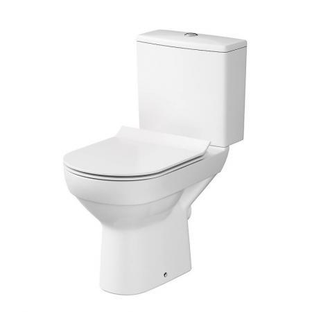 Cersanit City New Zestaw Toaleta WC kompaktowa CleanOn bez kołnierza z deską wolnoopadającą Slim i spłuczką biała K35-038