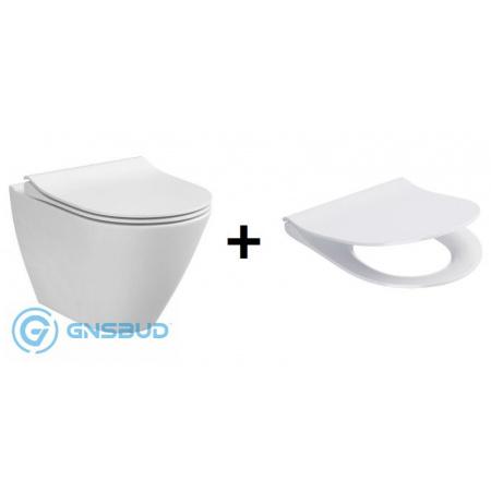 Cersanit City Oval Zestaw Toaleta WC 50x36 cm CleanOn z deską Slim, biały K701-104