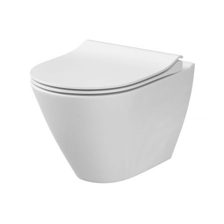 Cersanit City Oval New Toaleta WC podwieszana CleanOn bez kołnierza z ukrytym mocowaniem, biała K35-025