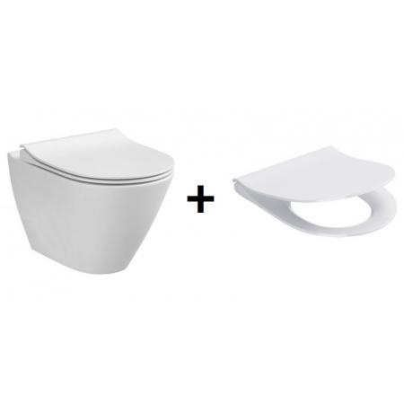 Cersanit City Oval New Zestaw Toaleta WC podwieszana 50x36 cm CleanOn z ukrytym mocowaniem z deską sedesową wolnoopadającą Slim, biała K35-025+K98-0146