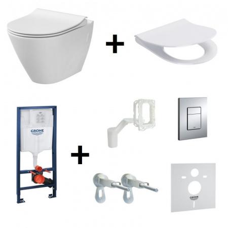 Cersanit City Oval Zestaw Toaleta WC podwieszana 50x36 cm CleanOn bez kołnierza wewnętrznego z deską sedesową wolnoopadającą i stelażem Grohe Rapid SL 5w1, biały K35-015+K98-0146+38827000