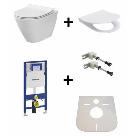 Cersanit City Oval Zestaw Toaleta WC podwieszana 50x36 cm CleanOn bez kołnierza wewnętrznego z deską sedesową wolnoopadającą i stelażem Geberit Duofix 3w1, biały K35-015+K98-0146+111.320.00.5+111.815.00.1