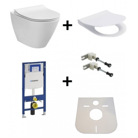 Cersanit City Oval Zestaw Toaleta WC podwieszana 50x36 cm CleanOn bez kołnierza z ukrytym mocowaniem z deską sedesową wolnoopadającą i stelażem Geberit Duofix 3w1, biały K35-025+K98-0146+111.320.00.5+111.815.00.1
