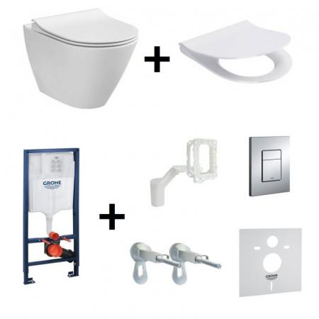 Cersanit City Oval Zestaw Toaleta WC podwieszana 50x36 cm CleanOn bez kołnierza z ukrytym mocowaniem z deską sedesową wolnoopadającą i stelażem Grohe Rapid SL 5w1, biały K35-025+K98-0146+38827000