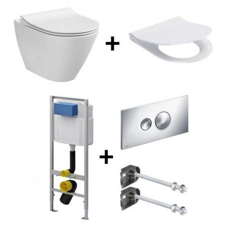 Cersanit City Oval Zestaw Toaleta WC podwieszana 50x36 cm CleanOn bez kołnierza z ukrytym mocowaniem z deską sedesową wolnoopadającą i stelażem Viega Eco Standard 3w1, biały K35-025+K98-0146+713386