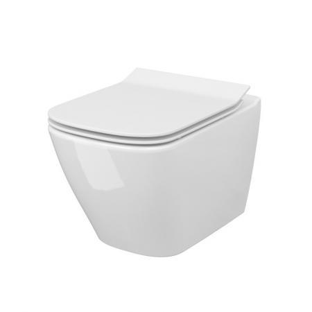 Cersanit City Square SET B220 Toaleta WC podwieszana 51x34,5 cm CleanOn bez kołnierza z deską wolnoopadającą Slim biały S701-405