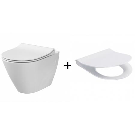 Cersanit City Oval Zestaw Toaleta WC podwieszana 50x36 cm CleanOn bez kołnierza wewnętrznego z deską sedesową wolnoopadającą, biały K35-015+K98-0146