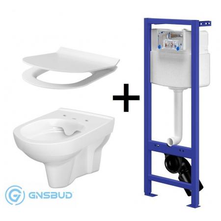 Cersanit City Zestaw Toaleta WC podwieszana CleanOn bez kołnierza z deską sedesową wolnoopadającą Slim, stelażem podtynkowym Aqua i przyciskiem Galaxy, biały/chrom S701-205