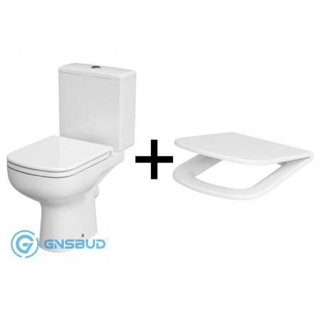 Cersanit Colour Zestaw Toaleta WC kompaktowa CleanOn z deską sedesową wolnoopadającą, biały K103-027