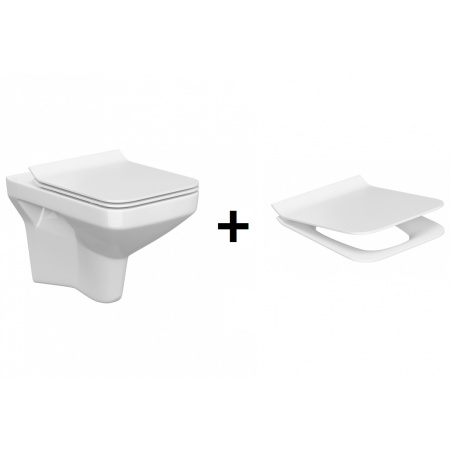 Cersanit Como New Zestaw Toaleta WC podwieszana 51,5x35 cm CleanOn bez kołnierza z deską sedesową wolnoopadającą, biały K32-020+K98-0143