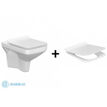 Cersanit Como SET 742 Toaleta WC podwieszana CleanOn bez kołnierza z deską sedesową wolnoopadającą, biały K701-102