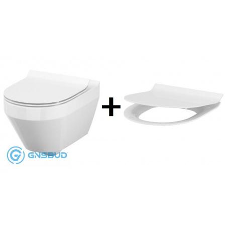Cersanit Crea Zestaw Toaleta WC podwieszana 52x35,5 cm CleanOn z deską sedesową wolnoopadającą Slim, biała K114-015+K98-0177