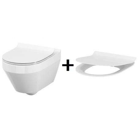Cersanit Crea Zestaw Toaleta WC podwieszana 52x35,5 cm owalna CleanOn z deską sedesową wolnoopadającą Slim, biała S701-212