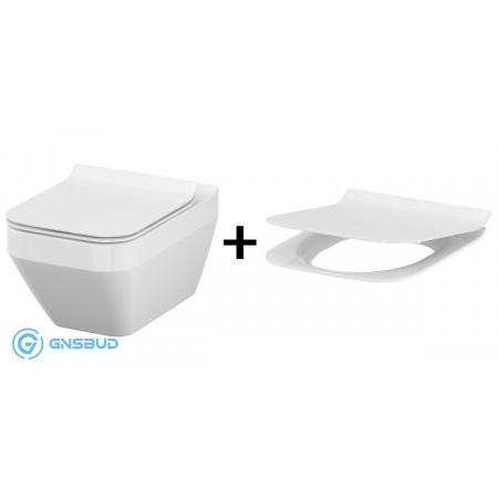 Cersanit Crea Zestaw Toaleta WC podwieszana 52x35 cm CleanOn z deską sedesową wolnoopadającą Slim, biała K114-016+K98-0178